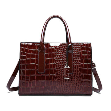 Women Crocodile Pattern Tote Handbag