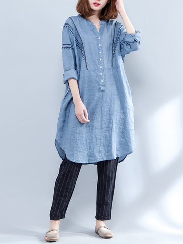 Casual Embroidery Long Sleeve V-Neck Shirt Dress