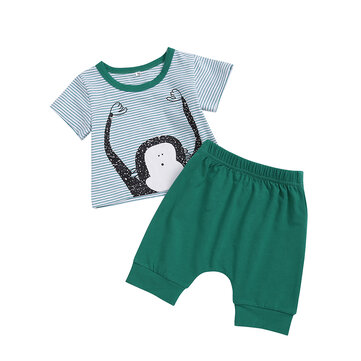 2Pcs Monkey Boys Short Set für 0-24M
