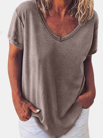 Solid Color V-neck T-shirt