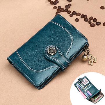 Trifold Women Oil Wax Genuine Leather 12 Card Slot Wallet