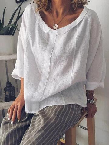 Отворот сплошной цвет повседневная блузка