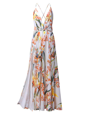 Floral Print Backless Maxi Dresses