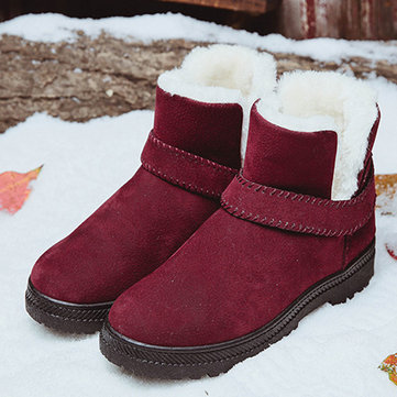 Suede Warm Lined Flat Snow Boots, Red black gray white