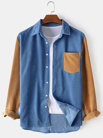 Corduroy Patchwork Loose Shirts