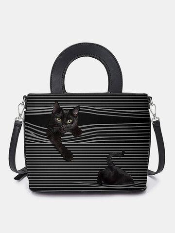Cat Striped Handbag Crossbody Bag Shoulder Bag Satchel Bag