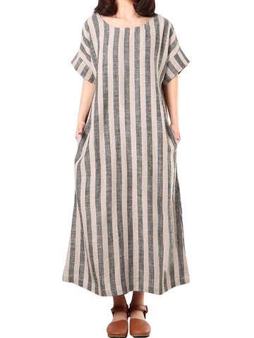 Casual Striped Baggy Dresses