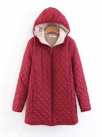 Hooded Plaid Solid Color Coat, Black blue wine red dark grey army green