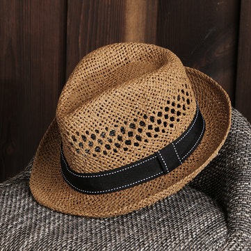 Unisex Summer Straw Knited Sunscreen Jazz Cap