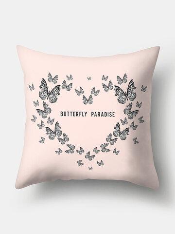 1PC Butterfly Letter Printing Heaet Shape Pillowcase Home Decor Sofa Living Room Car Throw Cushion Cover