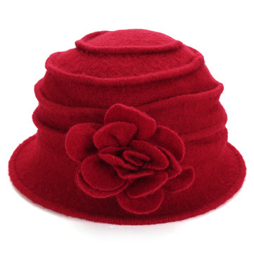 Ladies Flower Wool Felt Bucket Hat