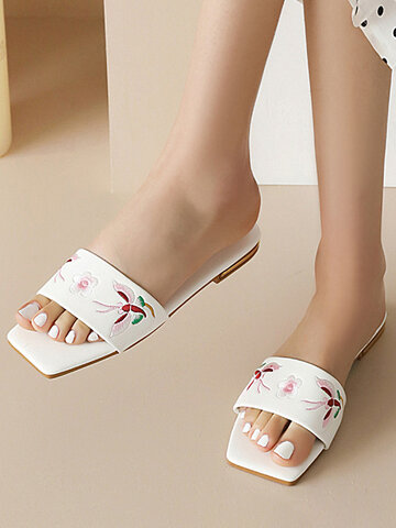 Fashion Squared Toe Embroidered Slides Slippers