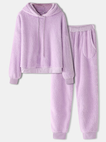 Fleece Thick Solid Plush Pajamas Long Set
