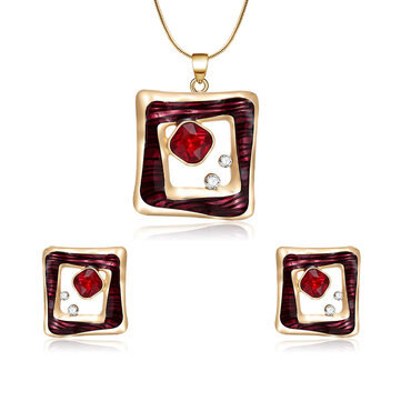 Ensemble de bijoux en cristal rouge Fashion