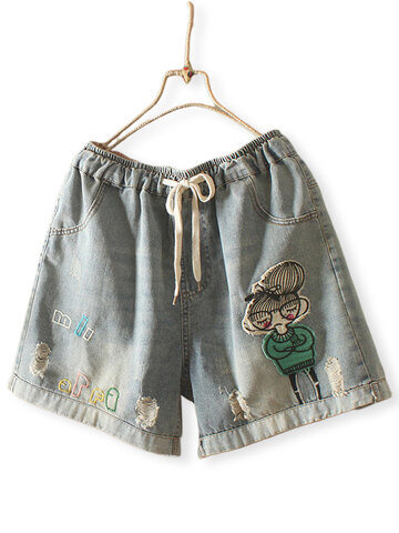 Cartoon Girl Cuffed Shorts