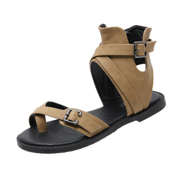 Buckle Clip Toe Ring Zippers Sandals
