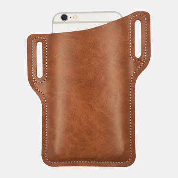 Men Genuine Leather 6.3 Inch Phone Belt Bag