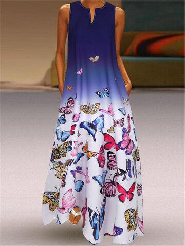 Ombre Maxi с принтом бабочек Платье