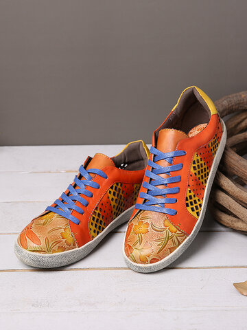 Retro Cutout Splicing Flat Sneakers