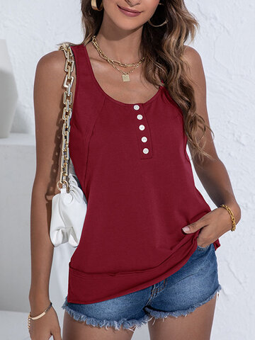 Solid O-neck Button Tank Top
