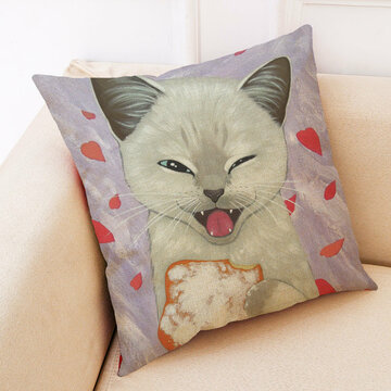 Cute Cat Pattern Cotton Linen Funda de almohada
