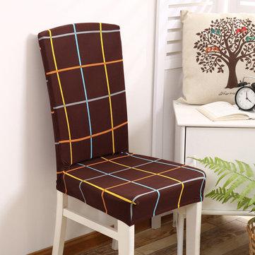 Elegant Plaids Stripes Elastic Stretch Chair Seat Cover Computer Dining Room Home Wedding Decor