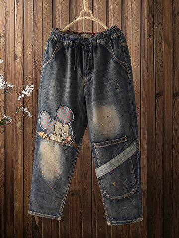 Cartoon Embroidery Patchwork Jeans