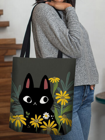 Cat Yellow Floral Tote