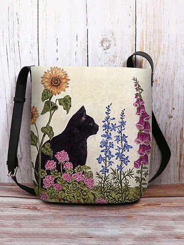 Cat Floral Pattern Prints Crossbody Bag Shoulder Bag
