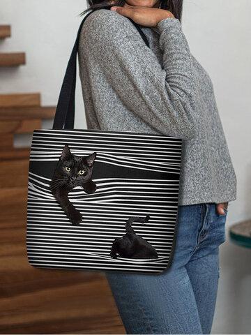 Felt Cat Striped Handbag Shoulder Bag