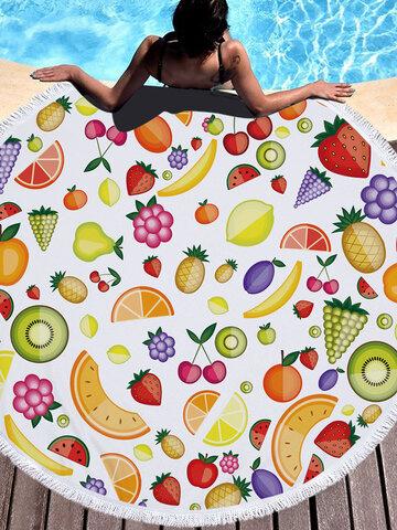 Fresh Fruits Round Beach Towel Blanket Hawaii Hawaiian Tropical Large Microfiber Terry Beach Roundie Palm Circle Picnic Carpet Yoga Mat with Fringe