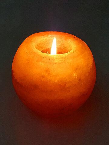 Crystal Night Light Candle Holder Natural Salt Rock Tealight Air Purifying Table Lamp