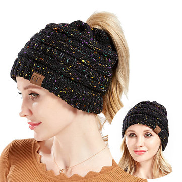 Crochet Knit Messy Bun Beanie Hat