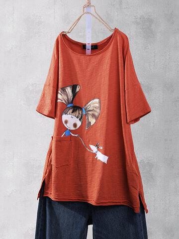 Cartoon Print Cute Casual T-shirt