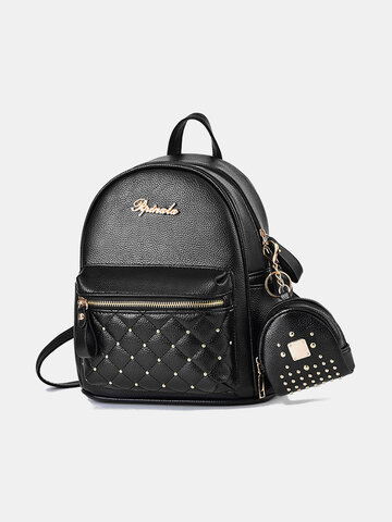 Fashion Faux Leather Rivets Decoration Backpack