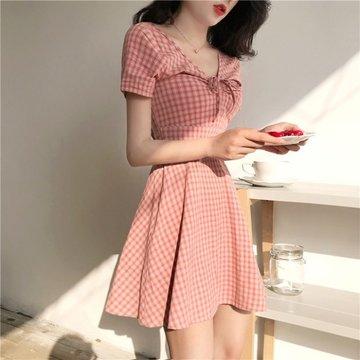 Popular Day Skirt Is Very Fairy French Small First Love Skirt Plaid Short Sleeve V-neck Dress Female