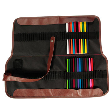 72 Slots Canvas Leather Contracted Pencil Roll Case For Colour Pen Sketch Pen School Supplies