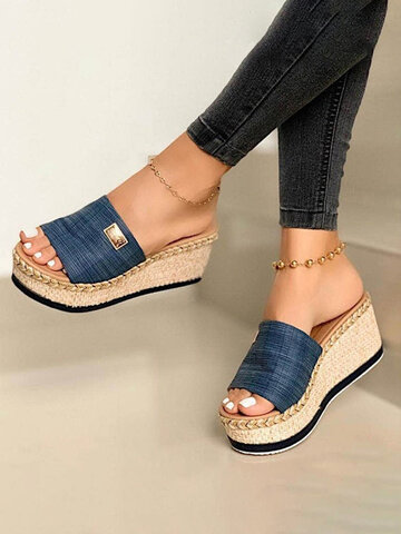 Solid Color Open Toe Espadrilles Platform