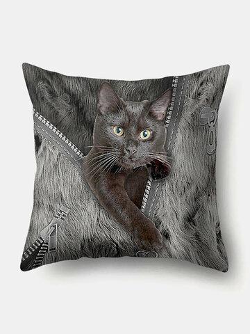 Personalized Zipper Cat Pattern Linen Cushion Cover Home Sofa Art Decor Throw Pillowcase