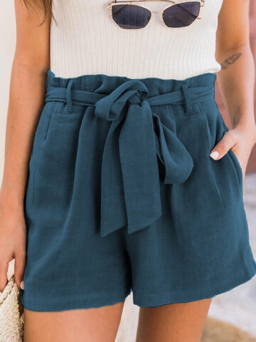 Solid Knotted High Waist Shorts