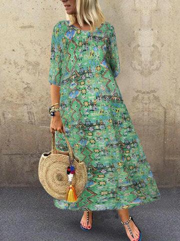 Maxi abito con stampa africana