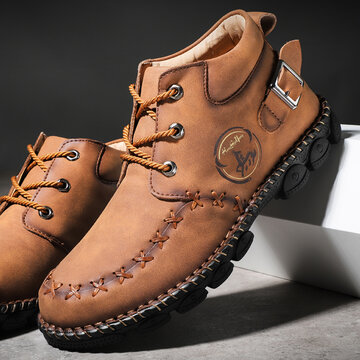Menico Men Hand Stitching Casual Leather Boots