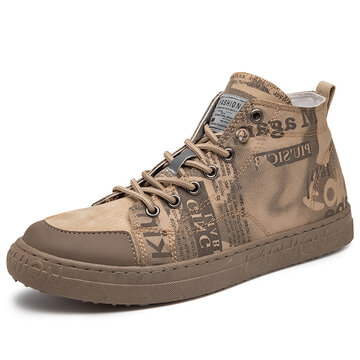 Men Painted Washed Canvas  High Top Sneakers