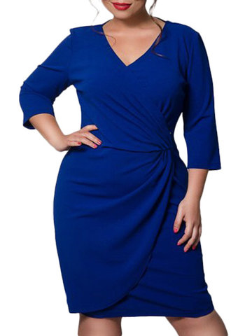 Solid Color V-Neck Plus Size Dress фото