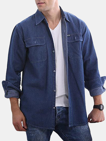 Solid Color Loose Denim Shirts