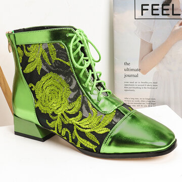 Flowers Embroidered Splicing Mesh Short Boots