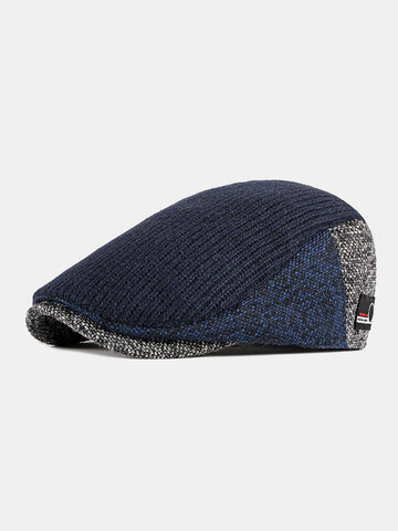 Men Beret Hat British Retro Forward Hat Knitted Peak Hat Flat Cap