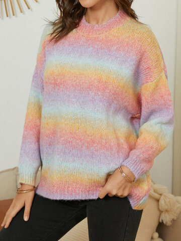 Rainbow Dropped Shoulder Sweater