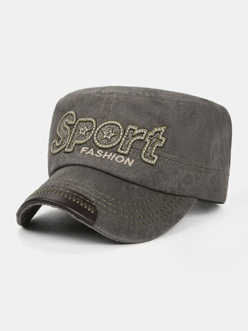 Men Letter Embroidery Military Cap