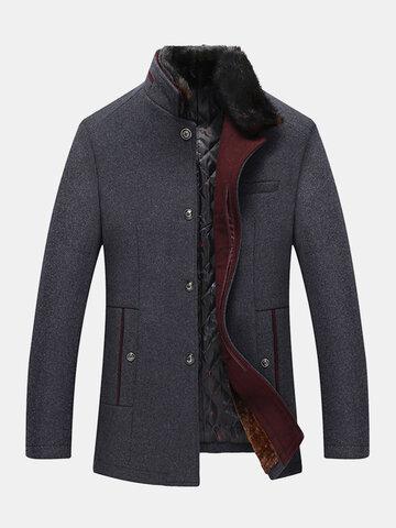 Faux Fur Collar Woolen Overcoats